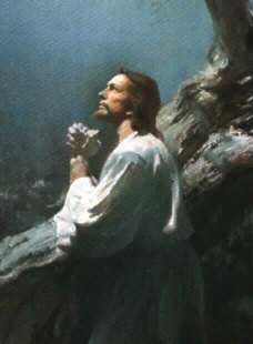 Jesus prays at Gethsemane.