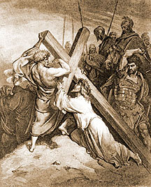 Simon of Cyrene helps Christ carry the cross.