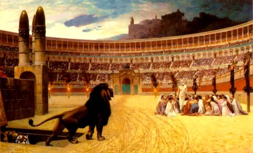 Christian martyrs were fed to the lions in Rome